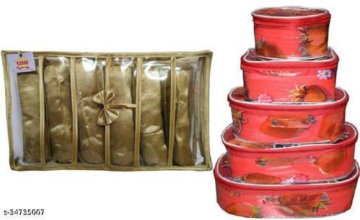 ultimatefashionista Combo Of 2 Pieces Set of 5 kit Storage 6 Rods Satin vanity box Vanity Box, makeup storage,jewellery box