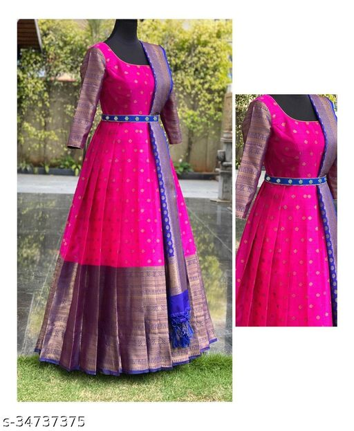 Sophisticated Rani Pink Colored Partywear Woven Jacquard Gown with Duppata