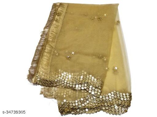Attractive Beautiful Embroidered Fashionable Plastic Mirror with Versatile Cut work Border Heavy Gorgeous Net Dupatta for Women's  & Girl's ( Beige )