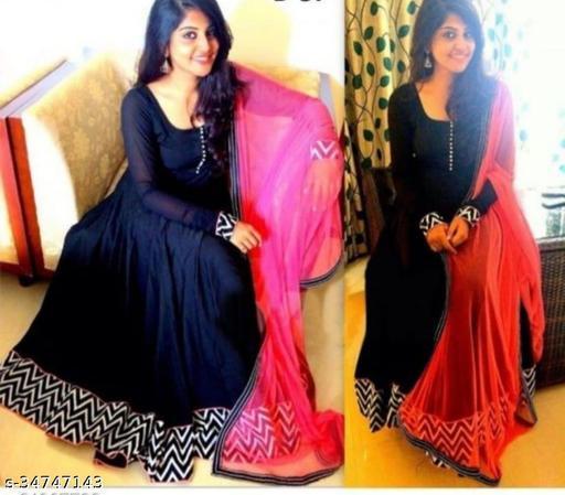 Impressive Blue Designer Digital Printed Gown with Duppata