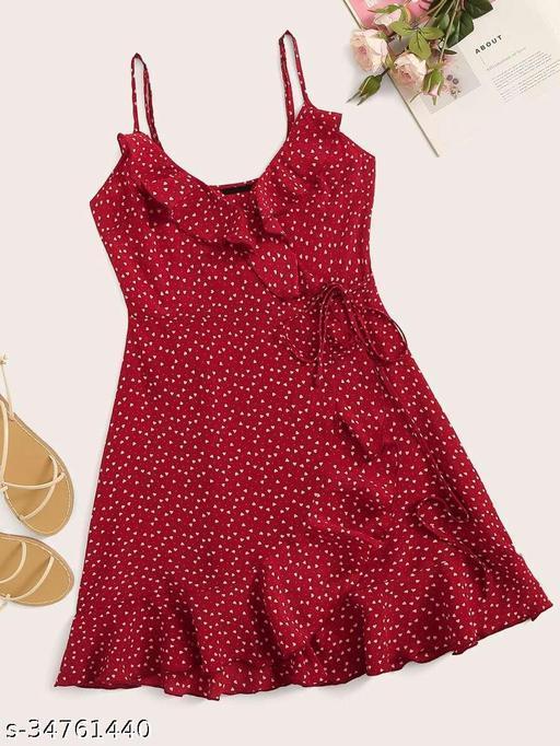 Fabrange Heart Print Ruffled Mini Cami Dress