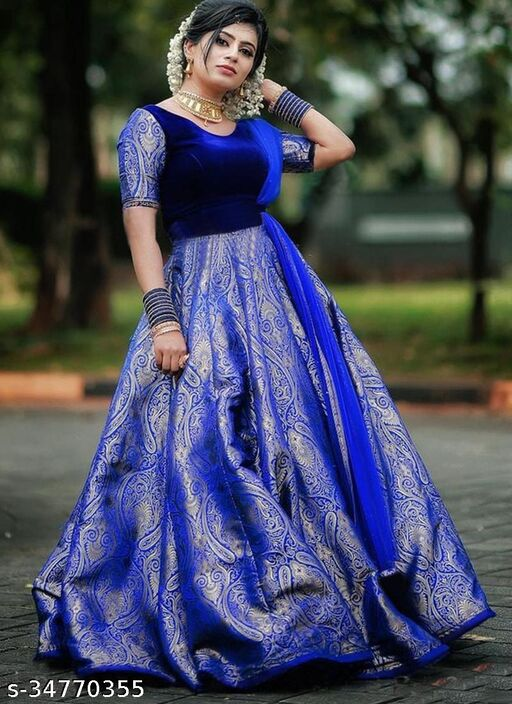 Demanding Royal Blue Colored Party Wear Velvet And Jacquard Silk Long Gown