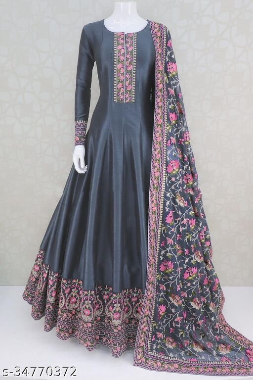 Trendy Women's georgette  Long Gown with dupatta
