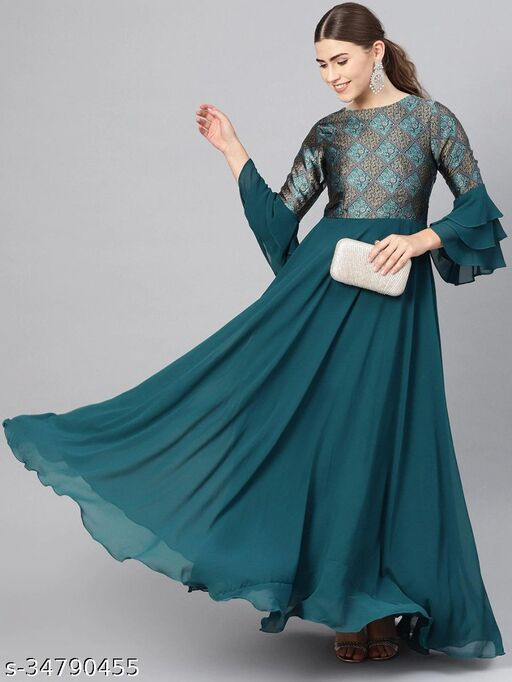 Trendy look womens jacquard gowns