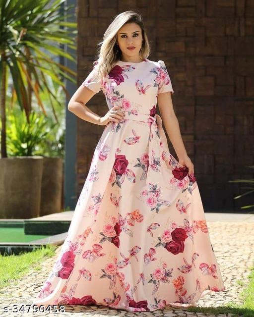 Baby Pink Digital Printed Designer Gown