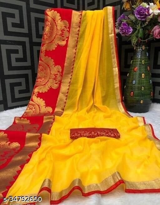 Akki Creation Women's  Chanderi Cotton Woven Foil Zari Border Saree ( Yellow)