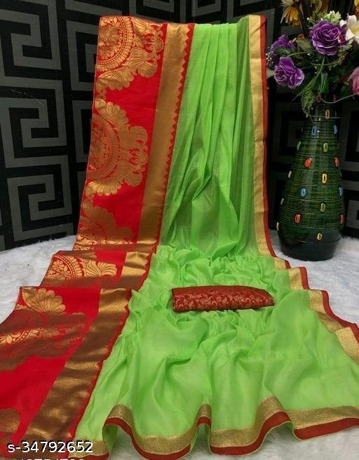 Akki Creation Women's  Chanderi Cotton Woven Foil Zari Border Saree ( Green)