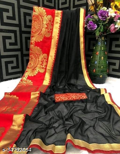 Akki Creation Women's Chanderi Cotton Woven Foil Zari Border Saree  ( Black)