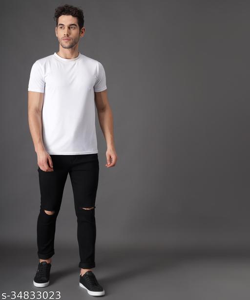 Zaysh Stylish Black Knee cut Jeans