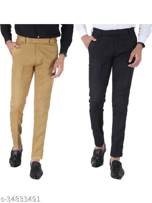 SREY Khaki and Black Combo Slim Fit Formal Trouser For Men