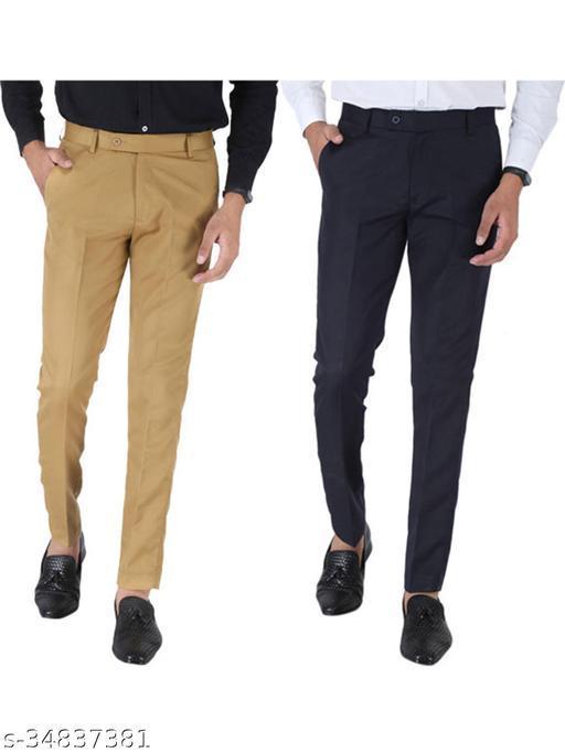 SREY Khaki and Dark Navy Blue Combo Slim Fit Formal Trouser For Men