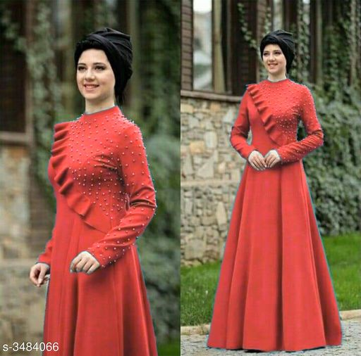 Women's Solid Rust Rayon Dress