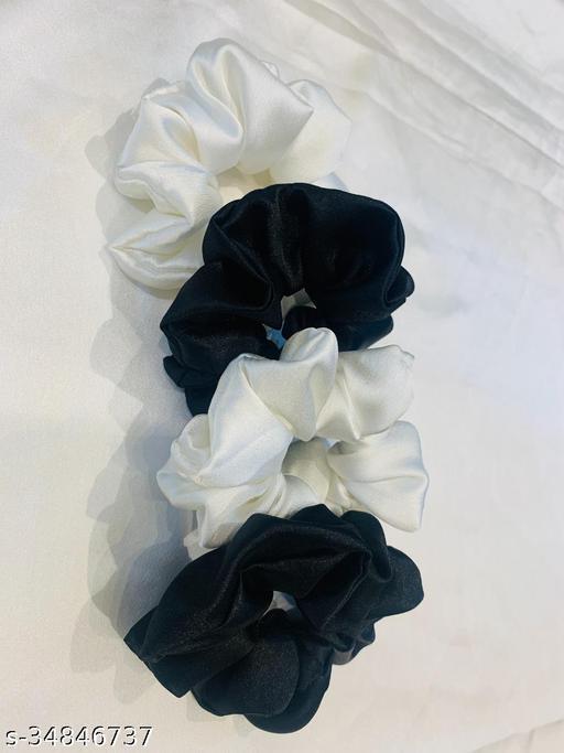 Beerbaani  Satin silk hair scrunchies, pack of 4  (2 Black and  2 White)