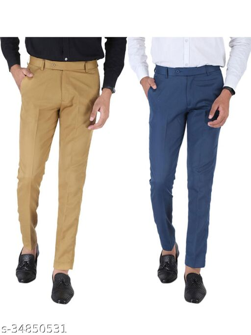 SREY Khaki and Airforce Blue Combo Slim Fit Formal Trouser For Men