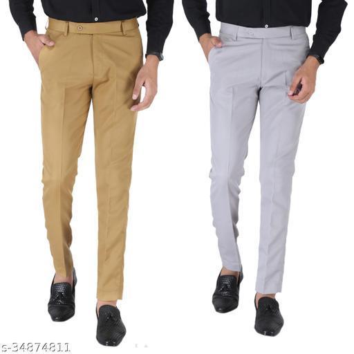 SREY Khaki and Grey Combo Slim Fit Formal Trouser For Men
