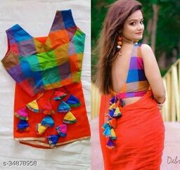 Womens Georgett Saree With Stitched Blouse