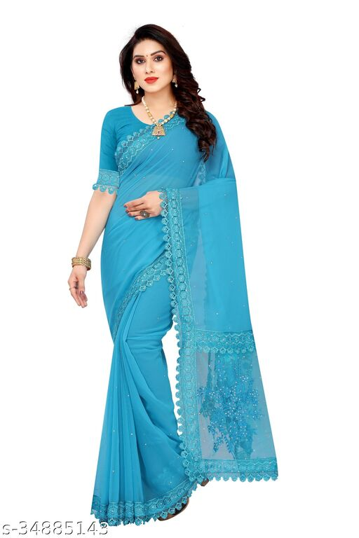 Georgette Embroidered Saree (Sky_Free Size)