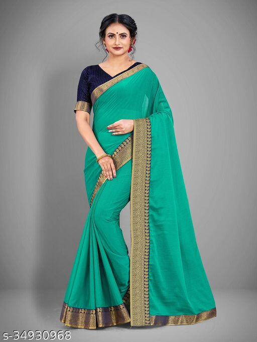 Chifffon solid saree with  lace work