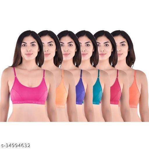 SK Dreams Multi Color Cotton Set of 6 Women's Bra Combo