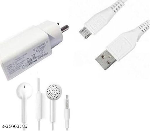 Combo for vivo All Models with Fast Charger with Usb Data cable &  Earphone (White)