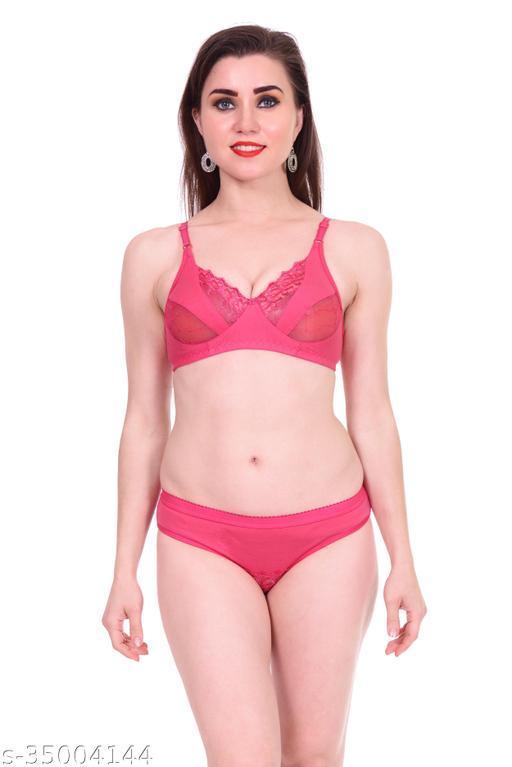 Women Lace Pink Cotton Blend Lingerie Set