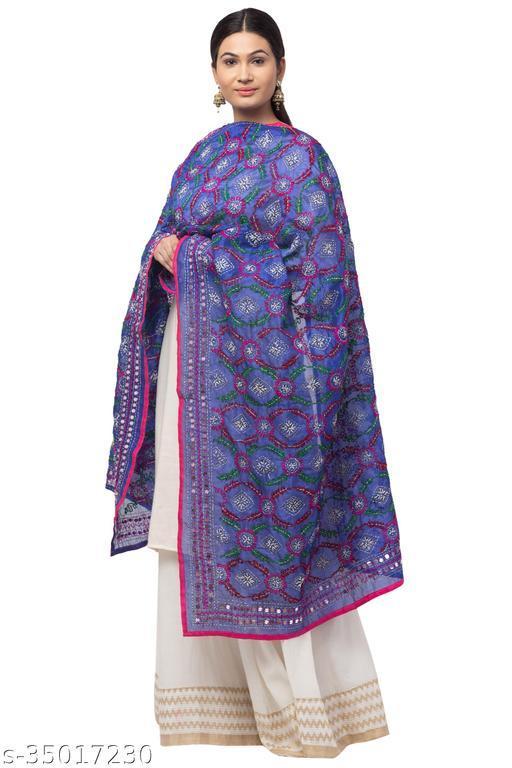Trendy stylish Blue Chanderi Silk Phulkari Kantha Stitch Dupatta for Women
