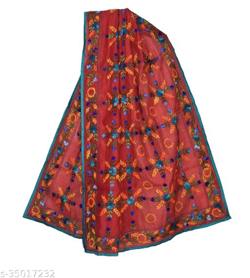 Designer Stylish  Off-White Red phulkari Heavy Embroidery Chanderi Cotton Dupatta for Wedding/Party