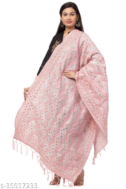 Fancy Designer Pink Zig-zag Pattern Phulkari Dupatta for women