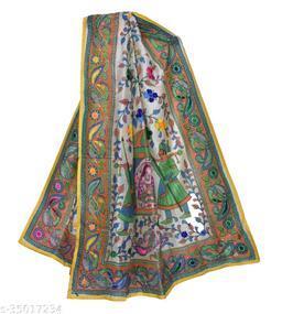 Designer Stylish  Off-White YELLOW Madhubani  Heavy Embroidery Chanderi Cotton Dupatta for Wedding/Party