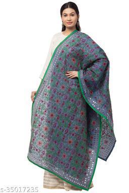 Trendy stylish Grey Chanderi Silk Phulkari Kantha Stitch Dupatta for Women