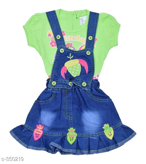 Dungarees Trendy Denim Baby Girls Dungaree  *Fabric* Denim   *Sleeves* Sleeves Are Included   *Size* Age Group (0 - 6 Months) - Chest - 19 in, Length - 16 in To 17 in, Waist - Up To 15 in To 20 in (Elasticated)  Age Group (6 - 12 Months) - Chest - 20 in, Length - 17 in To 18 in, Waist - Up To 15 in To 20 in (Elasticated)  Age Group (12 - 18 Months) - Chest - 22 in, Length - 18 in To 19 in, Waist - Up To 15 in To 20 in (Elasticated)   *Type* Stitched   *Description* It Has 1 Set Of Baby Girls Dungaree   *Work* Embroidery  *Sizes Available* 0-6 Months, 6-12 Months, 12-18 Months *   Catalog Rating: ★4.1 (298)  Catalog Name: Unisex Kid's Dungarees Vol 1 CatalogID_37337 C62-SC1152 Code: 253-350219-