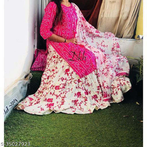 Latest Bandej Kurti with skirt And duppata ( RANI)