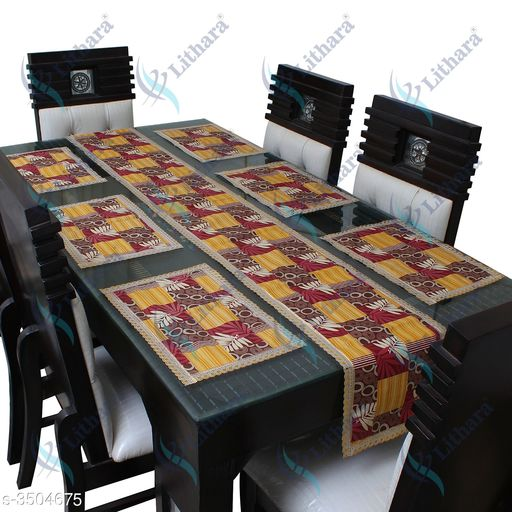Table Runner Home Elegant Table Runners & Table Mat  *Material* Polyester   *Size (L X W)* Table Runner - 84 in X 11 in, Table Mat - 17 in X 11 in   *Description* It Has 6 Pieces Of Table Mat With 1 Piece Of Table Runner   *Work* Printed  *Sizes Available* Free Size *   Catalog Rating: ★3 (7)  Catalog Name: Free Gift Dream Home Elegant Table Runners & Table Mats Vol 18 CatalogID_487876 C129-SC1127 Code: 663-3504675-