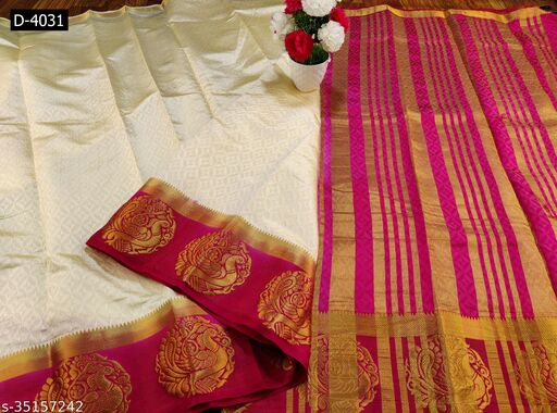 Bhagvati Geometric Print, Ombre, Self Design, Woven Kanjivaram Silk Blend Saree (Cream, Pink)
