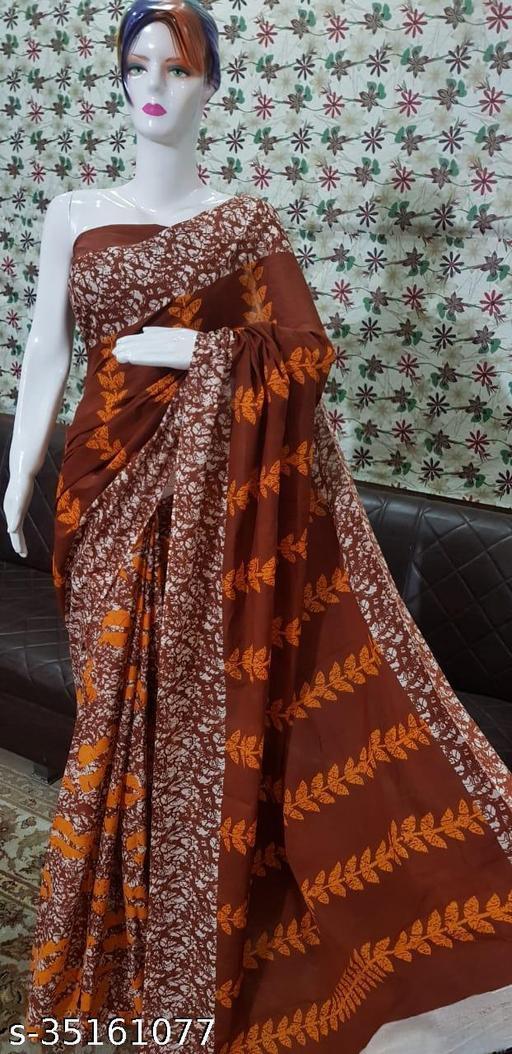 Bagru New Cotton Mulmul Saree Handblock Printed  With Seprate Blouse