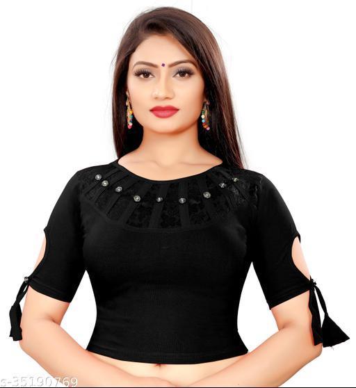 Stylish neck & sleeve cotton lycra stretchable blouse