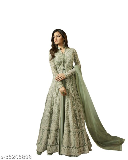Glow More Women's And Girls New Embroidered Net Semi Stitched Anarkali Gown(Green)