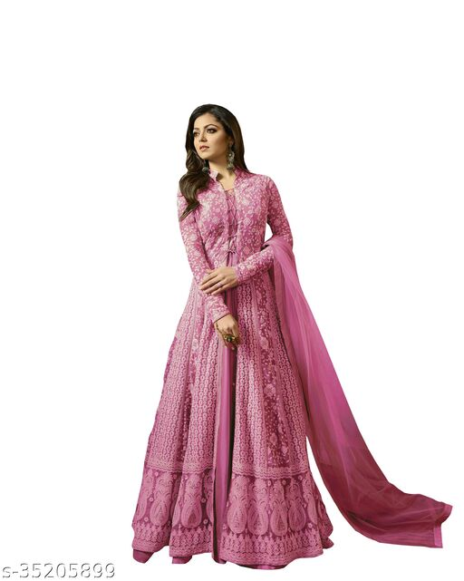 Glow More Women's And Girls New Embroidered Net Semi Stitched Anarkali Gown(Pinki)