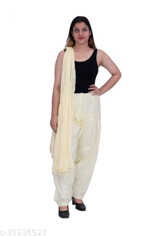 semi patiala solid cotton with tussal dupatta