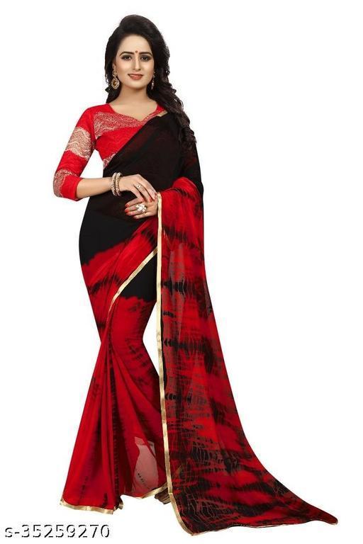 Beautiful Chiffon saree With Blouse Piece