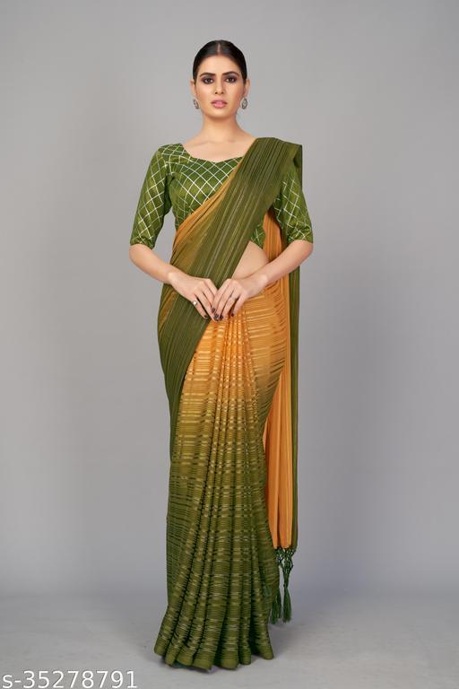Latest Designer Zarna Silk Two Tone Saree With Foil Work Art Silk Blouse