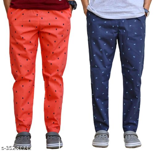Trendy Printed Cotton Trackpants (Pack of 2)