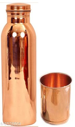 Pure Copper Bottle and copper Glass Diwali Gift Set