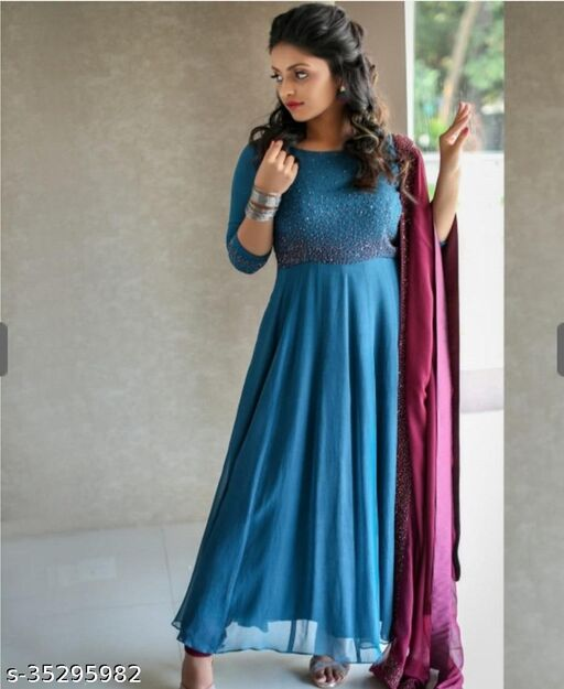 EXCLUSIVE ROYAL BLUE COLORED CASUAL WEAR PRINTED GEORGETTE WITH DUPATTA