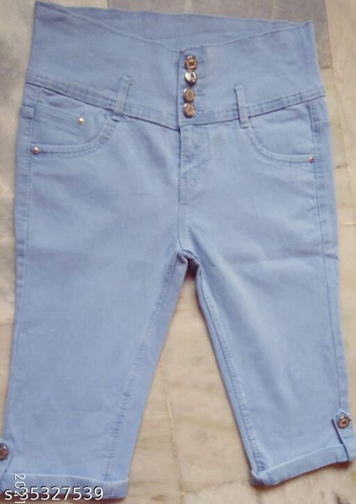 WB stylish Ice Blue four buttons 3/4 capri for ladies