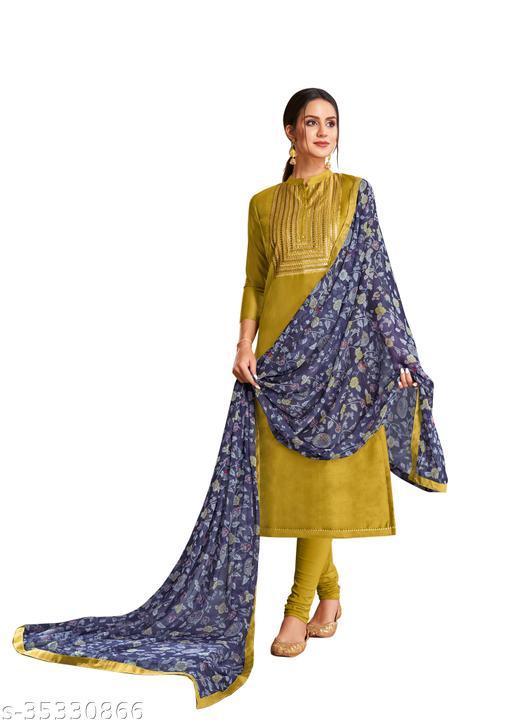 Trendy Women Chanderi Silk Embroidered Dress Material  (Unstitched)