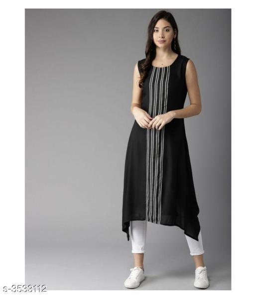 Women Poly Crepe Assymetrical Stripe Kurti