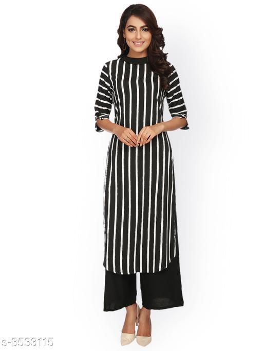 Women Poly Crepe A-line Stripe Kurti