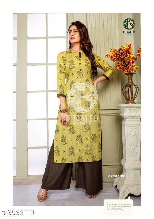 Kurta Sets New Fabulous 14 KG Rayon Women's Kurta Set  *Fabric* Kurti -  14 KG Rayon, Palazzo - 14 KG Rayon  *Sleeves* Sleeves Are Included    *Size* M - 19 in, L - 20 in, XL - 21 in, XXL - 22 , XXXL-24 ,Palazzo -  M - 19 in, L - 20 in, XL - 21 in, XXL -22, XXXL-24  *Length* Kurti - Up To 46 in, Palazzo - Up To 38 in  *Type* Stitched    *Description* It Has 1 Piece Of Women's Kurti & 1 Piece Of Palazzo  *Work* Kurti - Printed,  Palazzo -  Printed  *Sizes Available* L, XXL, XXXL   Supplier Rating: ★4 (438) SKU: femi9-trends-opera-vol-3-rayon-exclusive-kurti-with-plazzo-collection-1 Free shipping is available for this item. Pkt. Weight Range: 350  Catalog Name: New Fabulous 14 KG Rayon Women's Kurta Sets Vol 10 - Drape Fab Code: 0211-3533119--