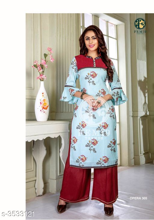 Kurta Sets New Fabulous 14 KG Rayon Women's Kurta Set  *Fabric* Kurti -  14 KG Rayon, Palazzo - 14 KG Rayon  *Sleeves* Sleeves Are Included    *Size* M - 19 in, L - 20 in, XL - 21 in, XXL - 22 , XXXL-24 ,Palazzo -  M - 19 in, L - 20 in, XL - 21 in, XXL -22, XXXL-24  *Length* Kurti - Up To 46 in, Palazzo - Up To 38 in  *Type* Stitched    *Description* It Has 1 Piece Of Women's Kurti & 1 Piece Of Palazzo  *Work* Kurti - Printed,  Palazzo -  Printed  *Sizes Available* L, XL, XXL, XXXL   Supplier Rating: ★4 (438) SKU: femi9-trends-opera-vol-3-rayon-exclusive-kurti-with-plazzo-collection-2 Free shipping is available for this item. Pkt. Weight Range: 350  Catalog Name: New Fabulous 14 KG Rayon Women's Kurta Sets Vol 10 - Drape Fab Code: 0211-3533121--